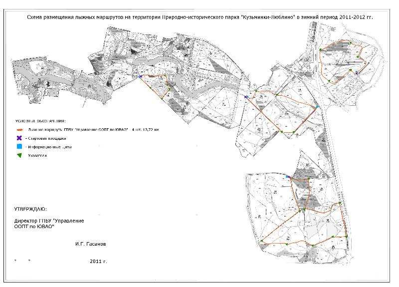 """Парк.  Просмотреть Летние рекреационные объекты в Парке  """"Кузьминки-Люблино """" на карте большего размера."""